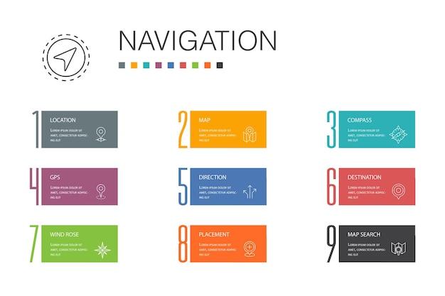 Conceito de linha de opção de navegação infográfico 10. ícones simples de localização, mapa, gps, direção
