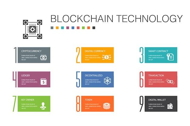 Conceito de linha de opção de tecnologia blockchain infográfico 10. criptomoeda, moeda digital, contrato inteligente, ícones simples de transação