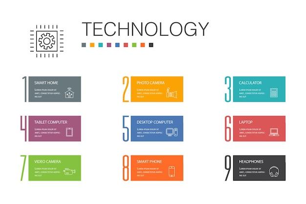 Conceito de linha de opção de tecnologia infográfico 10. casa inteligente, câmera fotográfica, computador tablet, ícones simples de smartphone