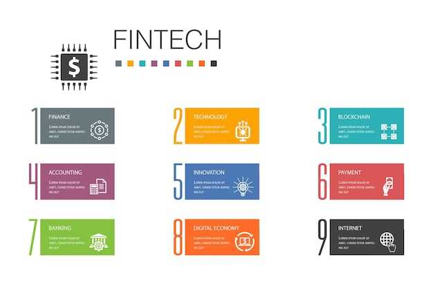 Conceito de linha de opção fintech infográfico 10. finanças, tecnologia, blockchain, ícones simples de inovação