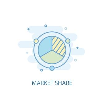 Conceito de linha de participação de mercado. ícone de linha simples, ilustração colorida. design plano de símbolo de quota de mercado. pode ser usado para ui / ux
