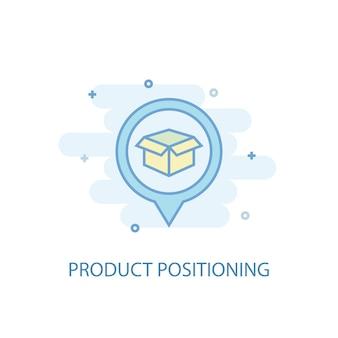 Conceito de linha de posicionamento de produto. ícone de linha simples, ilustração colorida. design plano do símbolo de posicionamento do produto. pode ser usado para ui / ux