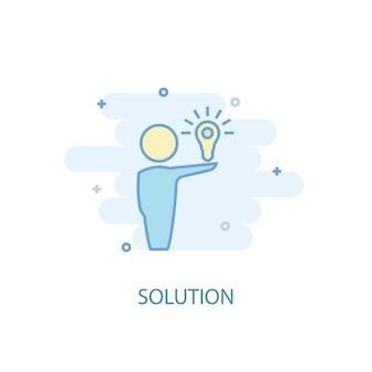 Conceito de linha de solução. ícone de linha simples, ilustração colorida. design plano de símbolo de solução. pode ser usado para ui / ux