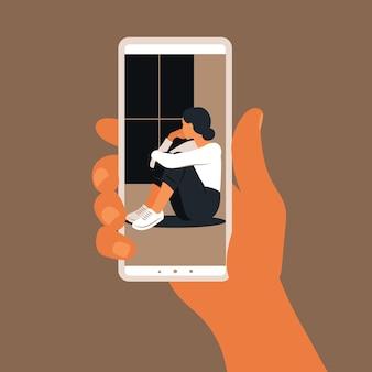 Conceito de linha direta de emergência com a mão segurando uma ilustração de smartphone