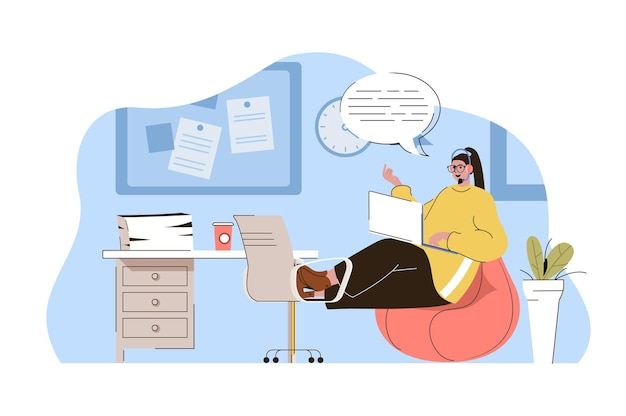Conceito de linha direta mulher operadora consulta, atende chamadas e mensagens