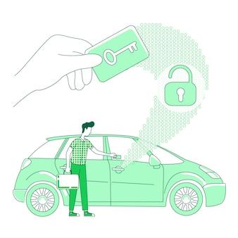 Conceito de linha fina de digitalização de cartão-chave