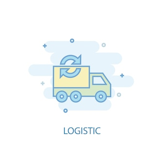 Conceito de linha logística. ícone de linha simples, ilustração colorida. design plano de símbolo logístico. pode ser usado para ui / ux