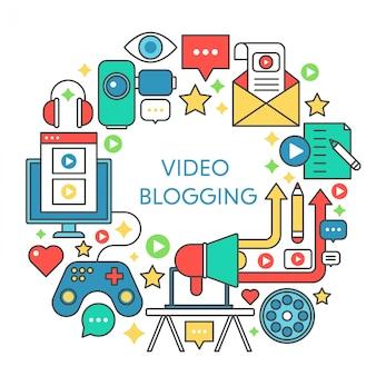 Conceito de linha plana de blog de vídeo