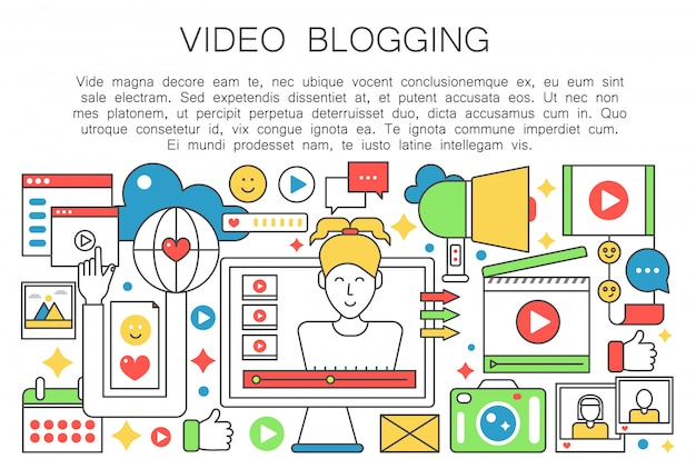 Conceito de linha plana de blogueiro de vídeo