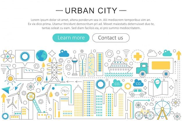 Conceito de linha plana de cidade urbana