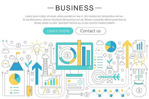 Conceito de linha plana de finanças de negócios