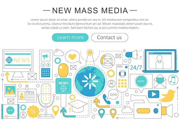 Conceito de linha plana de mídia de massa de notícias