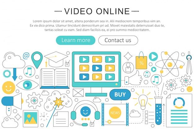 Conceito de linha plana de tecnologia on-line de vídeo