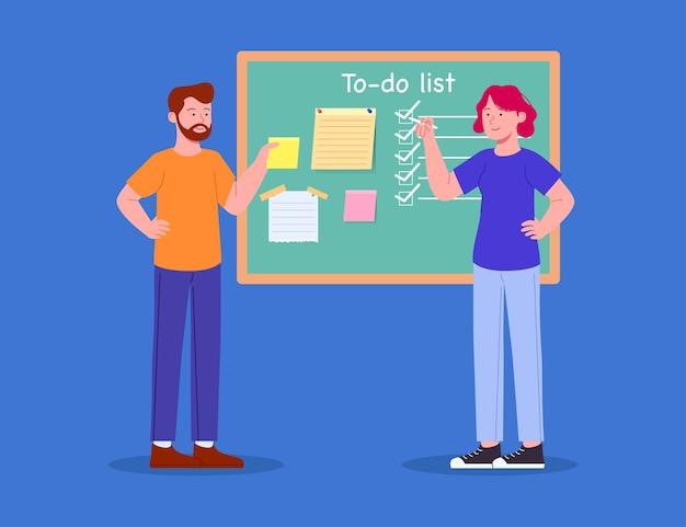 Conceito de lista de tarefas colaborativas de homem e mulher a bordo