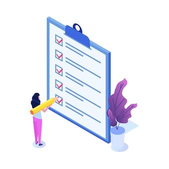 Conceito de lista de verificação de empresária