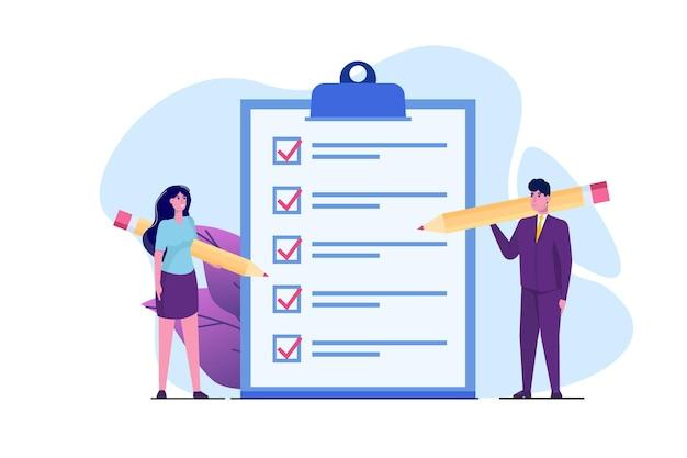 Conceito de lista de verificação de empresário e empresária