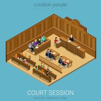 Conceito de litígio de processo judicial sala de sessão do júri do tribunal pessoas no juiz de escuta auditiva passam ilustração isométrica de julgamento