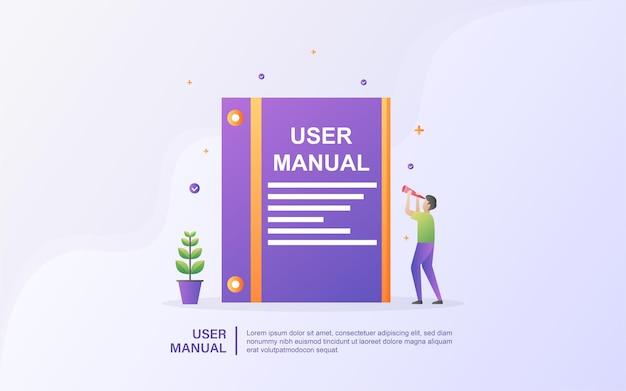 Conceito de livro do manual do usuário com as pessoas. guia, instruções de operação, requisitos e documento de especificações.