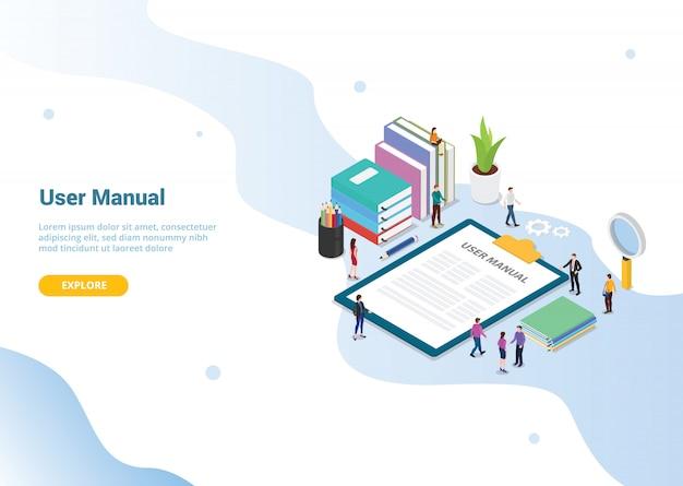 Conceito de livro manual de usuário para o design de modelo de site ou página inicial de destino