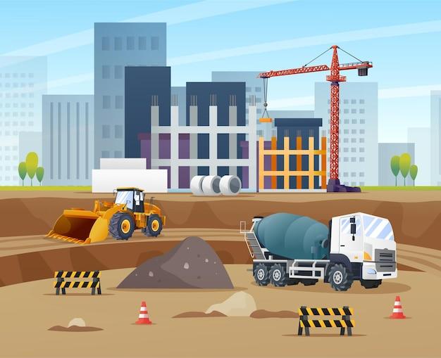 Conceito de local de construção com caminhão betoneira carregadeira de rodas e desenhos animados de equipamentos de material