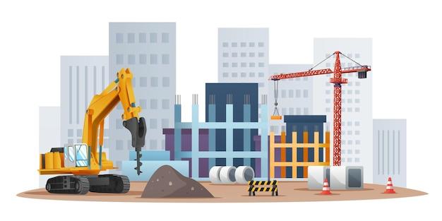 Conceito de local de construção com escavadeira de boreste e ilustração de equipamento de material