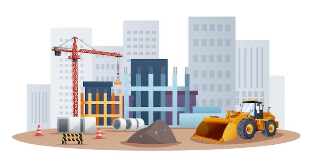 Conceito de local de construção com ilustração de carregadeira de rodas e equipamento de material