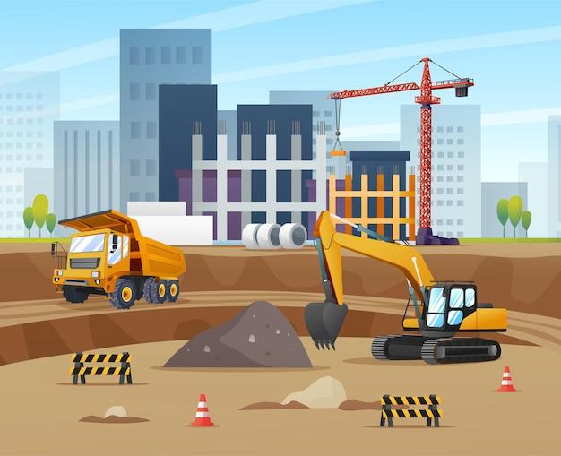 Conceito de local de construção com ilustração de equipamento de material e escavadeira de caminhão
