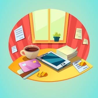 Conceito de local de trabalho de negócios com itens tablet e escritório no estilo retrô dos desenhos animados