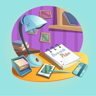 Conceito de local de trabalho de negócios com mesa e escritório itens estilo cartoon retrô
