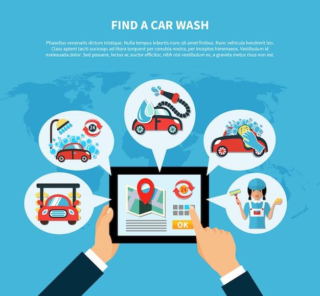 Conceito de localizador de lavagem de carro