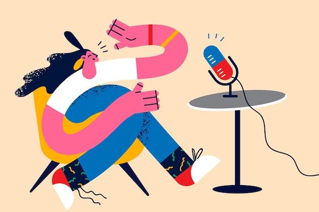 Conceito de locutor e apresentador de rádio do blogger