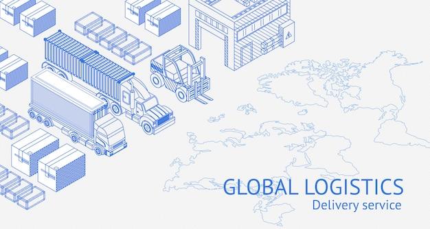 Conceito de logística global no banner