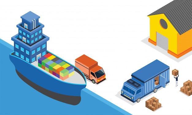 Conceito de logística ou transporte.