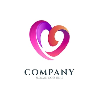 Conceito de logotipo com letra m de coração