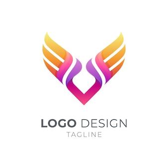Conceito de logotipo comercial wing letter v