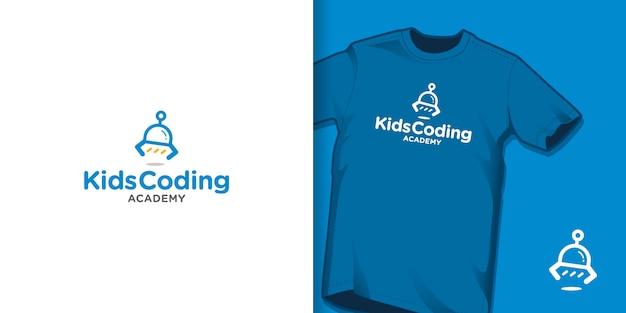 Conceito de logotipo de academia de codificação de crianças