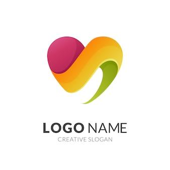 Conceito de logotipo de amor, logotipo 3d moderno
