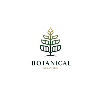 Conceito de logotipo de árvore geométrica botânica