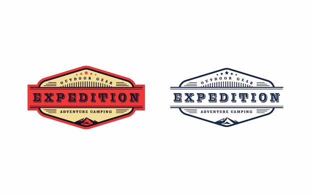 Conceito de logotipo de aventura de expedição de montanha