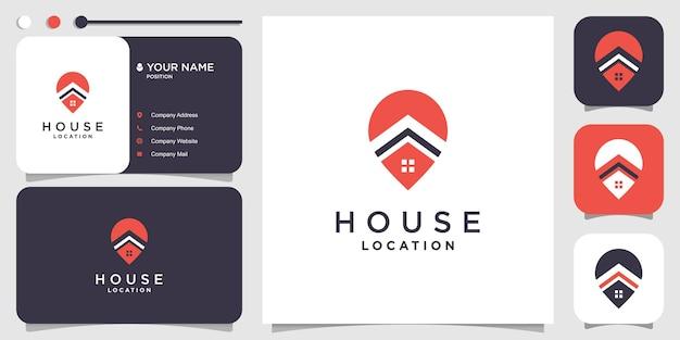 Conceito de logotipo de casa com estilo de localização de pino premium vector