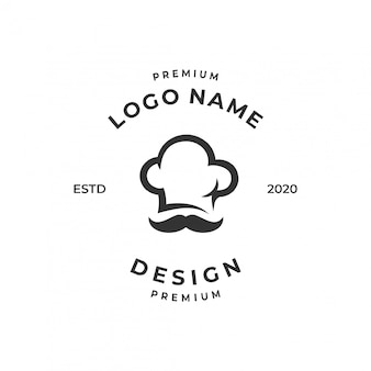 Conceito de logotipo de chef, modelo de design de comida / restaurante.