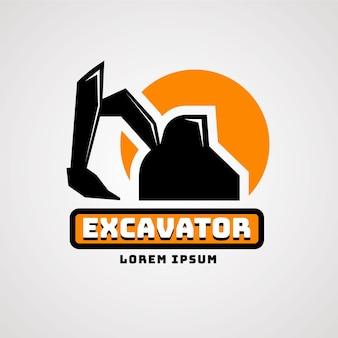 Conceito de logotipo de construção de escavadeira