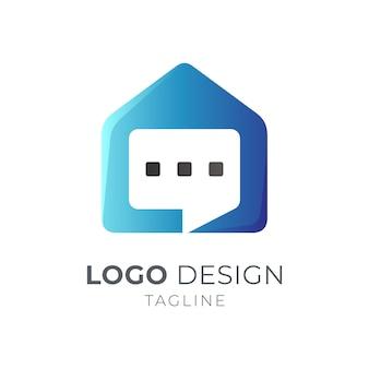 Conceito de logotipo de conversa de casa
