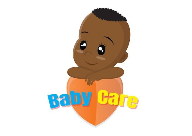 Conceito de logotipo de cuidados bebê africano.