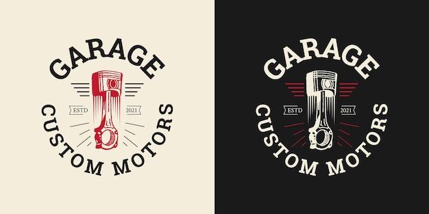 Conceito de logotipo de design de garagem ilustrações vetoriais de vela de ignição de pistão Vetor Premium
