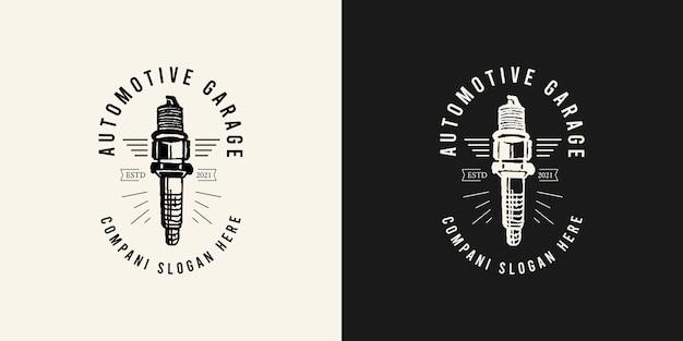 Conceito de logotipo de design de garagem ilustrações vetoriais de vela de ignição de pistão