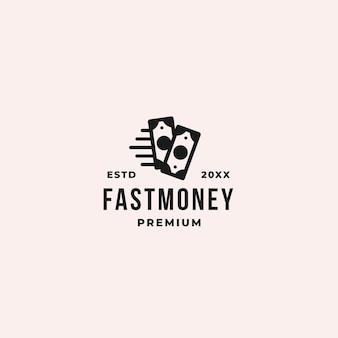 Conceito de logotipo de dinheiro rápido ou pagamento rápido para qualquer transação