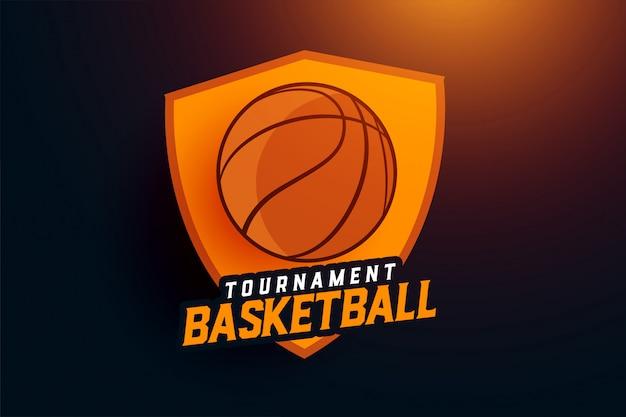 Conceito de logotipo de equipe de esportes de torneio de basquete
