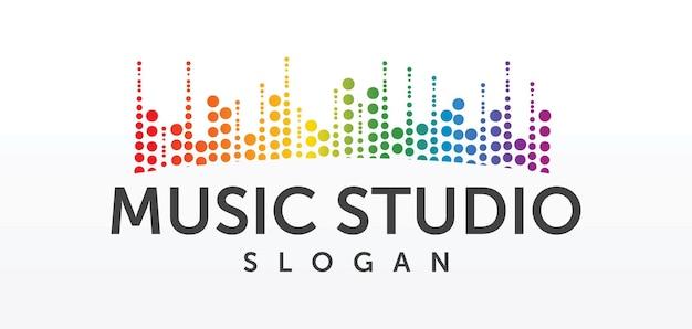 Conceito de logotipo de estúdio de som, emblema de serviço musical, equalizador, música, logotipo do sistema de áudio, rótulo de ondas sonoras design moderno simples e elegante isolado na imagem de fundo branco
