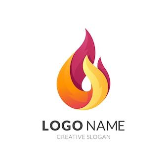 Conceito de logotipo de fogo, logotipo 3d moderno em gradiente de cor amarela e vermelha